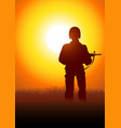 silhouette a soldier vector image vector image
