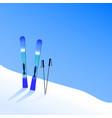 ski resort skiing on hillside extreme tourism vector image vector image