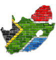 south africa map on a brick wall vector image vector image