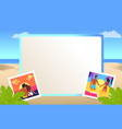 square frame with pictures of couples on beach vector image
