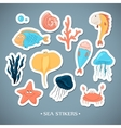 Stickers with marine life Cartoon vector image