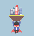 Super businessman carrying the city vector image