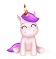 toy cute unicorn 3d cartoon character design vector image vector image