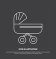 trolly baby kids push stroller icon line symbol vector image