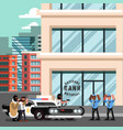 two criminals with hostage steal police car vector image vector image