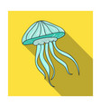 jelly fish icon in flat style isolated on white vector image