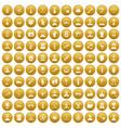 100 beard icons set gold vector image vector image