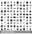 100 dress icons set simple style vector image vector image