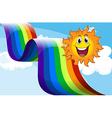A cheerful sun near the rainbow vector image vector image