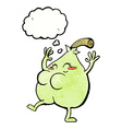 a nice pear cartoon with thought bubble vector image vector image