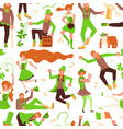 abstract seamless pattern with cute leprechauns vector image vector image