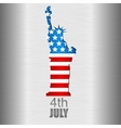 Background with US flag and statue of Liberty vector image vector image