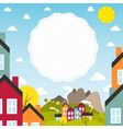Banner with small town vector image