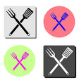 bbq or grill tools crossed barbecue fork with vector image vector image