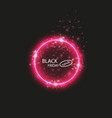black friday sale glowing neon sign on the red vector image