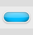 blue shiny oval button on white matted background vector image vector image