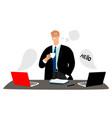 businessman leads online negotiations and drinks vector image