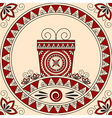card with a gift and patterns in ethnic style vector image