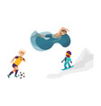 cartoon kids doing sports set vector image vector image