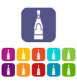champagne bottle icons set flat vector image vector image