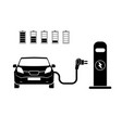 charging station electric car black icons set vector image vector image