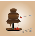 chocolate fountain and strawberries eps10 vector image