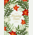 christmas postcard with poinsettia pine and fir vector image