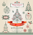 collection ornamental christmas decorations vector image vector image