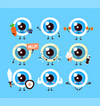 cute healthy happy and sick sad eyeball vector image vector image