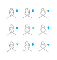 different forms of a woman s face vector image vector image