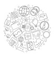 fintech circle background from line icon vector image