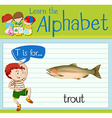 Flashcard letter T is for trout vector image vector image
