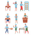 flat set of bakers characters happy people vector image vector image