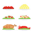 food on plate isolated on white background vector image vector image