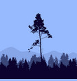 forest trees and mountains silhouette template vector image