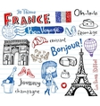 France symbols as funky doodles vector image