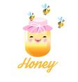 funny smiling Bank of honey and bees vector image