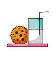 glass milk and cookie snack food image vector image
