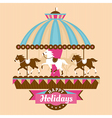 Greeting card with carousel vector image vector image