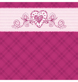 hand draw hearts on checked pink background vector image vector image