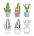 hand drawn cartoon flat cactus set vector image