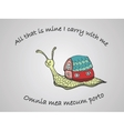 Hand drawn snail with its house vector image