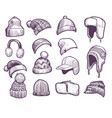 hand drawn winter hats set different knitted vector image vector image