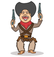 Happy cartoon cowboy with two guns vector image