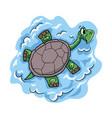 happy cartoon turtle character vector image