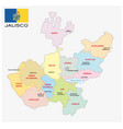 jalisco administrative map with flag vector image vector image