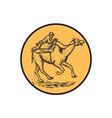 Jockey Camel Racing Circle Etching vector image vector image