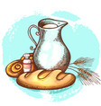jug of milk and fresh bread vector image vector image
