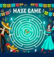 labyrinth maze game dia de los muertos holiday vector image vector image