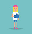 like concept teenage blond girl wearing foam vector image vector image